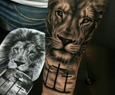 Lion tattoos hold different meanings. - Lion tattoos hold different meanings. Lions are known to be proud and courageous creatures. Lion Forearm Tattoos, Lion Head Tattoos, Mens Lion Tattoo, Leg Tattoos, Sleeve Tattoos, Lion Tattoos For Men, Cross Tattoos, Lion Arm Tattoo, Animal Sleeve Tattoo