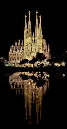 Sagrada Familia (Basicila & Expiatory Church of the Holy Family)  -  Barcelona, Spain  -  building began in 1882 - expected finish date in the 2040s)  -  combination of neo-gothic & curvlinear art noveau styles  -  UNESCO World Heritage Site.