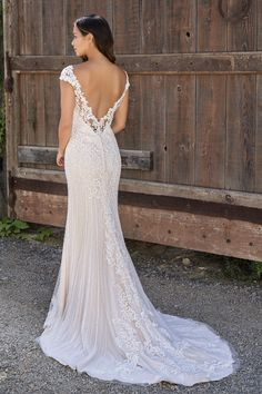 Pretty Embroidered Lace Wedding Dress with Illusion Neckline