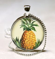 Pineapple Necklace, Fruit Jewelry, Tiki Jewelry, Hawaii, Hawaiian Art, Tropical Island Art Pendant With Ball Chain Included