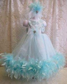 Elegant Seafoam Blue Feather Dress and Matching by cd1ofakind
