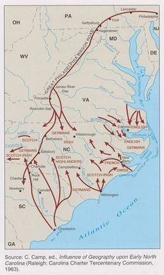 Early Settlement North Carolina. Contains Two additional detailed maps.