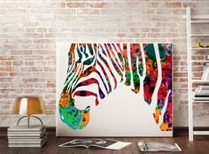 Zebras Watercolor Print on canvas Fine Art by Antsartworkoffice