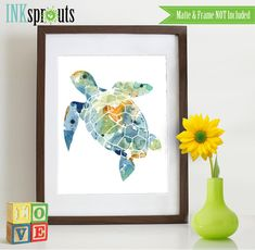 Watercolor Sea Turtle Print, Watercolor silhouettes, Sea Life, Beach theme, Nursery Print, Ocean print, Under the Sea, Item  WC008A