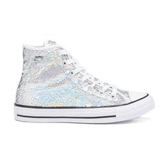 Converse Women's Chuck Taylor All Star Holiday Party Hi-Top Trainers ($75) ❤ liked on Polyvore featuring shoes, sneakers, silver, white trainers, converse sneakers, high top sneakers, lace up sneakers and white sneakers