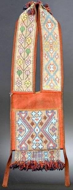 bandolier bags for auction | , native american, America, A Chippewa loom beaded bandolier bag ...