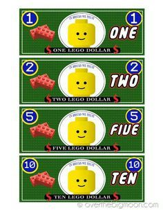 Over the Big Moon has FREE Lego themed play money printables. There are three different versions and lots of great ways to use them! Thanks, Homeschool G Lego Classroom Theme, Classroom Behavior, Printable Play Money, Minifigures Lego, Lego Hacks, Lego Club, Free Lego, Lego Activities, Lego For Kids