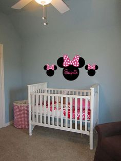 Minnie Mouse Ears Name Cusrom Vinyl Wall Quoting Words Decals Art Sticker Kids Room Decor Size