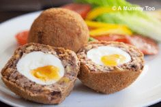 These lovely eggs may look like their meaty cousin, the scotch egg but no, they're vegetarian scotch eggs, made from a spicy blend of beans and chickpeas.