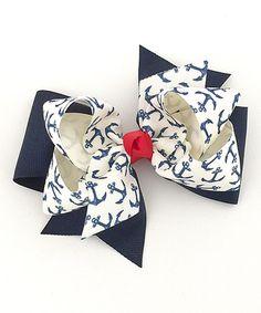 Look at this #zulilyfind! Navy & Cream Anchor Bow Hair Clip #zulilyfinds