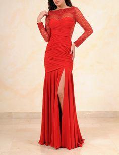 Rima Bohsali - Pret-a-Porter - E Collection  Robe en jersey rouge décolleté avec dos et manches en dentelle chantilly. Broderie en dentelle de callais brodé de paillettes rouges   #dress #embroidered #red #draping #drape #moulage #dentelle #lace