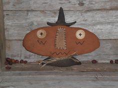 Primitive Grungy Halloween Pumpkin Witch BOO Shelf by ChooseMoose, $13.99