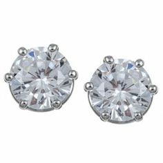 Ultimate CZ Platinum over Sterling Silver Cubic Zirconia Stud Earrings Emerald Glamour Boutique. $51.35