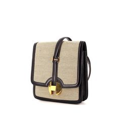Hermès 2002 bag worn on the shoulder or carried in the hand in beige canvas and navy blue box leather Vintage Purses, Vintage Bags, Hermes Vintage, Blue Box, Small Bags, Leather Men, Couture, Bag Design, Beige