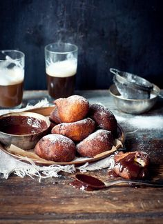 Orange and ricotta doughnuts with chocolate dipping sauce via (What Katie Ate)