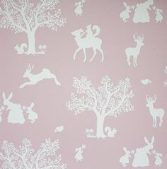 Enchanted Wood Pink Wallpaper | Hibou Home - http://centophobe.com/enchanted-wood-pink-wallpaper-hibou-home/ -