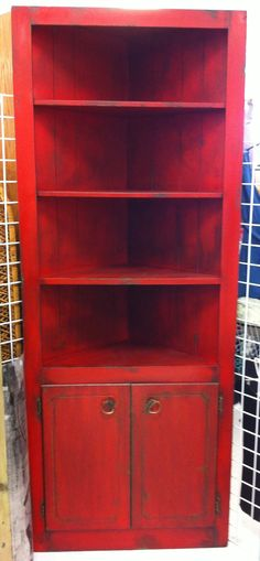 Red / Black Corner Book Shelf   Cabinet   Shelving / Storage Unit. $250.00,