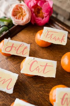 summery, citrus escort cards | via: grey likes weddings