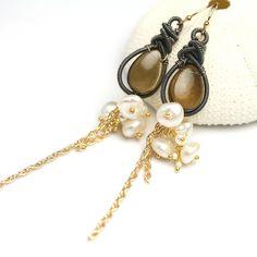 Long Whiskey Quartz Earrings Wire Wrapped Dangle Earrings by fussjewelry on Etsy https://www.etsy.com/listing/193631378/long-whiskey-quartz-earrings-wire