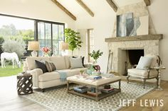 """Modern Cottage"" Living Room--   Jeff Lewis Paint: Cotton"