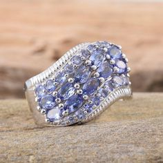 Tanzanite (Ovl) Ring in Platinum Overlay Sterling Silver Nickel Free (Size 6.0) TGW 3.240 cts.