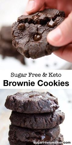 Moist and chewy just like a brownie, these almond butter brownie cookies are the most satisfying Keto chocolate cookies you'll ever try! day i dream about food sugar free pecan pie-keto recipe Keto Almond Butter Brownie Cookies Sugar Free Desserts, Low Carb Desserts, Healthy Desserts, Low Carb Recipes, Dessert Recipes, Dinner Recipes, Healthy Food, Breakfast Recipes, Soup Recipes