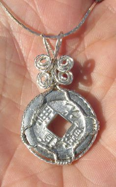 Chinese Coin wirewrapped pendant by johnchapman3 on Etsy