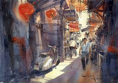 "Direk Kingnok Watercolor artist "" Shop in Yaowarat 3."" 36 x 50 cm."