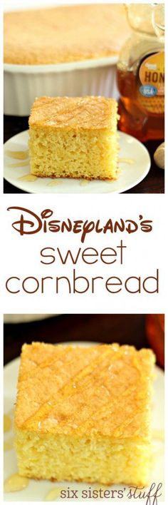Disneyland's Sweet Cornbread -This sweet cornbread was served at Big Thunder Ranch BBQ at Disneyland. Once you've had this cornbread, you won't ever go back to any other recipe! So easy and so delicious! Good Food, Yummy Food, Dessert Bread, Disney Food, Restaurant Recipes, Sweet Bread, Baked Goods, Food To Make, Sweet Tooth