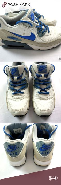 Nike Air Max 90 Shoes White Blue Grey Men's Size 9 Nike Air Max 90 Shoes White Blue Grey Men's Size 9  Used shape and well cared for, ships in 1 business day or less from a clean and smoke free environment. Thanks! Nike Shoes Sneakers