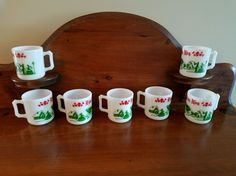 7 Vtg Hazel Atlas White Milk Glass Egg Nog Cups Mugs  Victorian Christmas