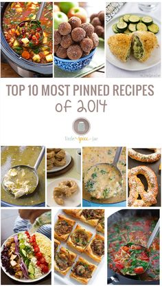 This is a compilation of the top 10 most pinned recipes of 2014 on Little Spice Jar. They include my #1 most pinned slow cooker Minestrone Soup! | littlespicejar.com