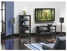 Sanus Natural Series contemporary audio stand, in room view.