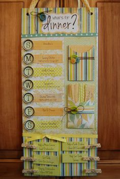 Menu Board :: Ideas for variations - use clothespins instead of bottle cap magnets, run pins/magnets across bottom instead of side (with vertical meal tags), put in picture frame, add shopping list or note pad, make bottom space a memo board.