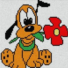 Baby Pluto with Red Flower. Cross Stitch Fairy, Cross Stitch Kits, Cross Stitching, Cross Stitch Embroidery, Disney Stich, Disney Quilt, Graph Paper Art, Disney Cross Stitch Patterns, Pixel Pattern