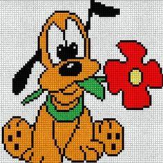 Baby Pluto with Red Flower. Cross Stitch Fairy, Cross Stitch Kits, Cross Stitching, Cross Stitch Embroidery, Pixel Art, Disney Stich, Disney Quilt, Disney Cross Stitch Patterns, Pixel Pattern