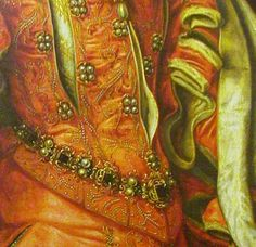 Elisabeth Valois queen of Spain DATE 1568  CARCANET girdle is the jeweled band that accents the vee-waistline created by her pointed bodice, the  V shaped girdle is a particularly  Spanish type of ornament