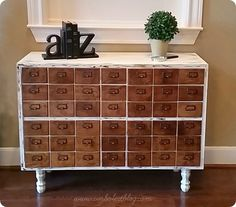 You would never believe this gorgeous card catalog style cabinet started as a two-door cabinet from the thrift store. Amazingly, it was an easier transformation than you'd think!!!