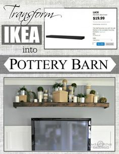 With a little wood stain and a miter saw, you can make the LACK shelf ($19.99) look like floating reclaimed wood. | 37 Cheap And Easy Ways To Make Your IKEA Stuff Look Expensive