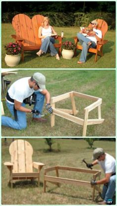 DIY Lawn Adirondack Chair & Bench Free Plans and Instructions #woodworkingbench