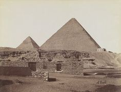 Antonio Beato (Italian and British, after 1832-1906). Pyramids at Giza (View from northeast of the pyramids of Chephren and Cheops), 19th century. Albumen silver photograph, image/sheet: 7 3/4 x 10 1/4 in. (19.7 x 26 cm). Brooklyn Museum, Gift of Matthew Dontzin, 85.305.2