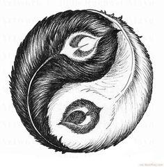 Feather Ying Yang Symbol Tattoo Drawing ❥❥❥ http://bestpickr.com/yin-yang-tattoos
