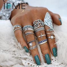 IF ME Vintage Bohemian Ring Set Punk Antique Silver Color Leaf Armor Shield Geometric Knuckle Midi Rings for Women Jewelry Gifts Statement Jewelry, Boho Jewelry, Silver Jewelry, Women Jewelry, Diamond Jewelry, Jewelry Gifts, Silver Rings, Cheap Jewelry, Enamel Jewelry