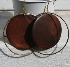 Large Gold and Wooden Hoop Earrings, Light Weight by CraftedLocally. #handmade #jewelry