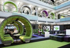 The BBC North office environment, designed by ID:SR. Promotes collaboration with an open floor plan.