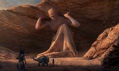 statue d'un dieu ancien _ terres brulées