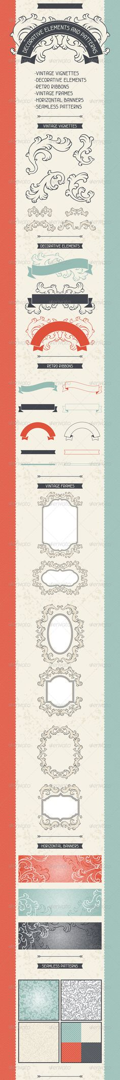 Decorative Elements and Patterns.  #GraphicRiver         Decorative elements and patterns.   -vintage vignettes (, -decorative elements (3),  -retro ribbons (10), -vintage frames (6), -horizontal banners (3), -seamless patterns (7).   Zip file contains: