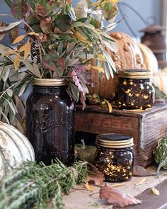 How To Use Amber Mason Jars In Fall Decor How to use amber jars in fall decor Chalk Paint Mason Jars, Painted Mason Jars, Wood Bead Garland, Beaded Garland, Farmhouse Window Treatments, Canvas Drop Cloths, Valentine Day Wreaths, Painted Wood Signs, Glass Christmas Ornaments