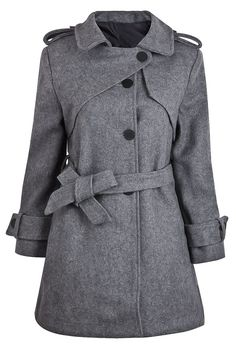Light Grey Wool Trench Coat with Belt - Sheinside.com
