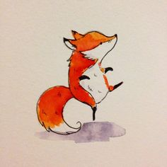 Ok, one more little fox before bed #fox #illustration #cute #art #drawing #sketch #kuretake #foxy